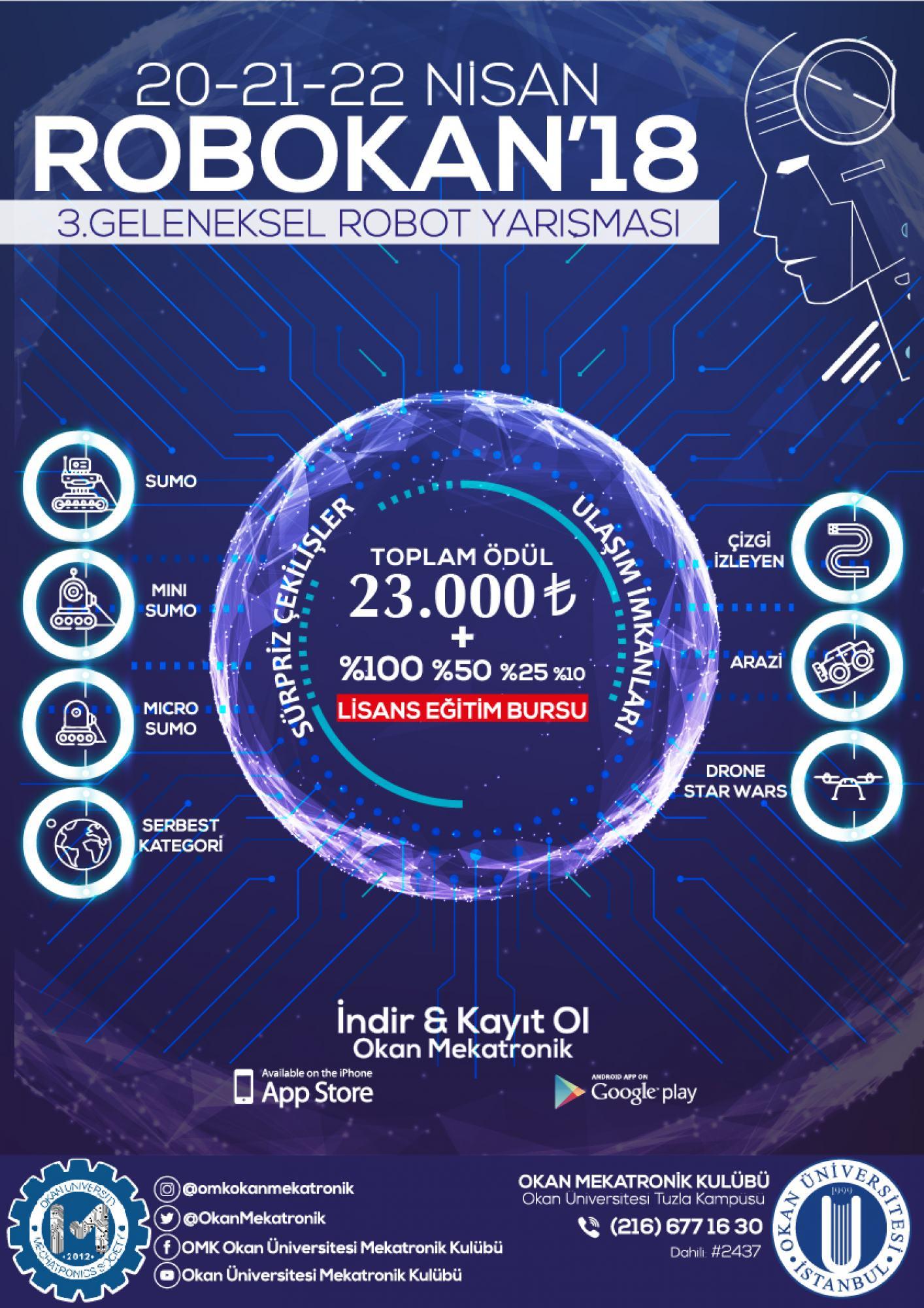 Robokan18 Robot Yarışması Istanbul Okan üniversitesi